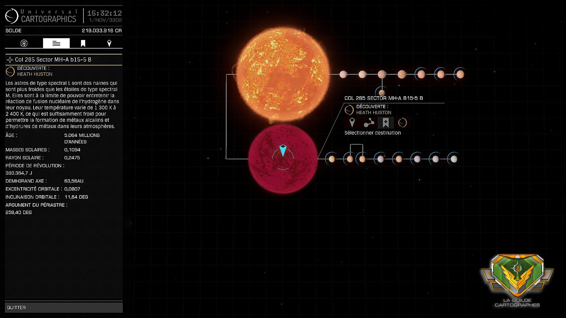 Une des étoiles découverte par Heath Huston en avril 3301.