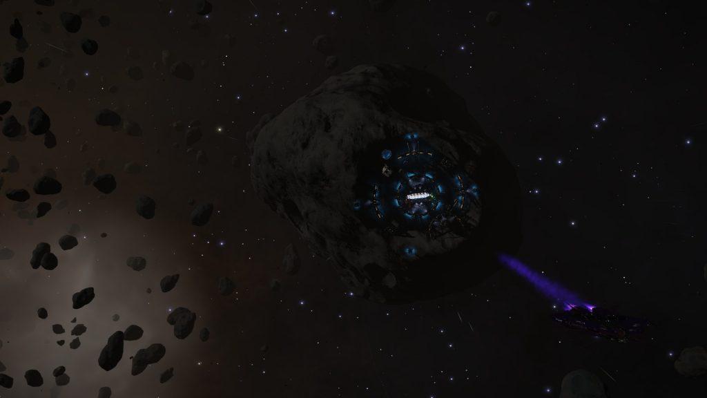 Le nuage de particules en bas à gauche du cliché est le reste d'une détonation d'un astéroïde riche en ressources