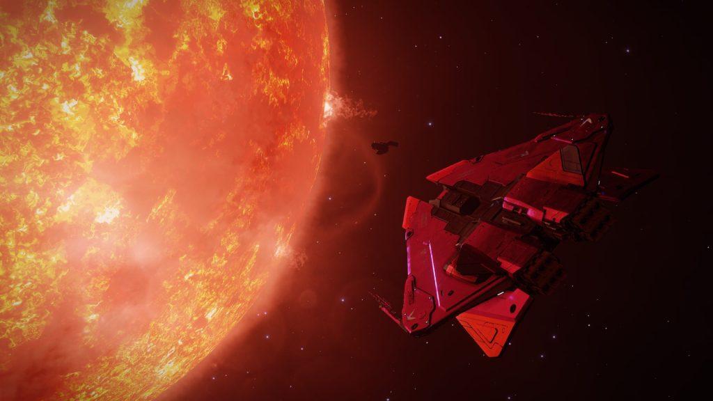 """Une image du Flying Cat mkII devant la balise de tourisme """"Distant Worlds"""" dans le système Pallaeni."""