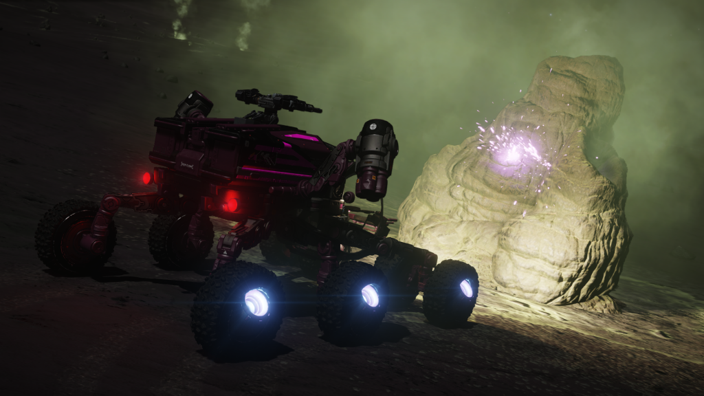 Collecte de matériaux en surface avec le VRS, près de fumerolles, sur une des planètes du système  Eodgorph AR-K c22-93